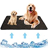 Ledeak Dog Cooling Mat Pad, Breathable Pet Self Cooling Bed Ice Silk Blanket Non Slip Sleep Pillow Cushion Washable Cats Puppy Summer Sleeping Mattress Keep Cool Crates Mat Cover for Home Travel Brown