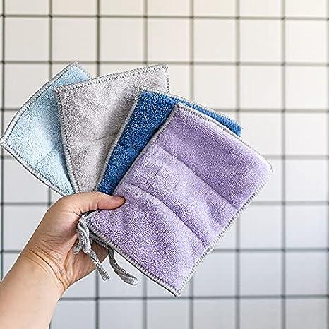 Paño limpio de doble capa para el hogar cocina Lavavajillas absorbe el agua sin perder el pelo sin aceite magia frotar