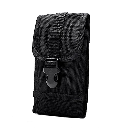 """OneTigris MOLLE Phone Pouch for 4.7"""" 5.5"""" Phone with Slim Case (Black - 1000D Nylon)"""