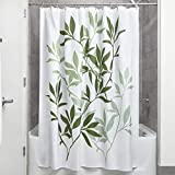 iDesign Leaves Fabric Shower Curtain, Modern Mildew-Resistant Bath Curtain for Master Bathroom, Kid's Bathroom, Guest Bathroom, 72 x 72 Inches, Green and White