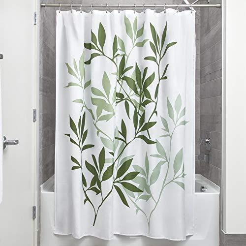 iDesign Leaves Duschvorhang | Designer Duschvorhang in der Größe 183,0 cm x 183,0 cm | schickes Duschvorhang Motiv mit Blättern | Polyester grün