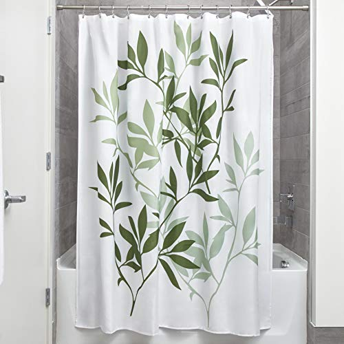iDesign Leaves Botanical Fabric Bathroom Shower Curtain - 72