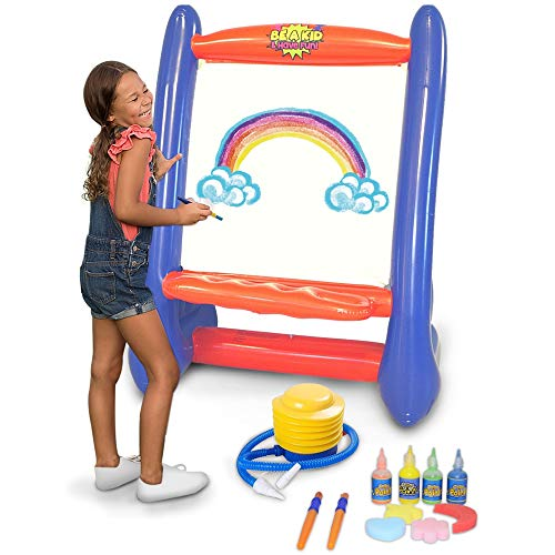 Inflatable Indoor and Outdoor Easel for Kids with Air Pump Paint Brushes Paints Sponges | Great for Indoor and Outdoor Art Activities and Inflatable Games | Giant Art Easel 39quot L x 27quot W x 50quot H