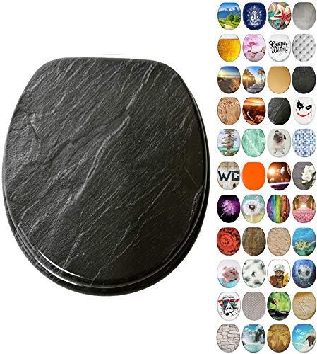 WC Sitz mit Absenkautomatik, viele neue WC-Sitze zur Auswahl, hochwertige Oberfläche, einfache Montage, stabile Scharniere (Granit)