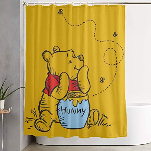 milkcolor Lustiger Stoff-Duschvorhang Winnie The Pooh Wasserdichtes Badezimmer-Dekor mit Haken 60 x 72 Zoll