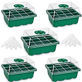 5-Pack Seed Trays Seedling Starter Tray,Humidity Adjustable Plant Starter Kit with Dome and Base Greenhouse Grow Trays… 8 【Keep an eye on your plant】: The only design in the market- High quality clear plastic trays of this seed grow kit make it easier to observe your plants without interrupting the process. 【Total control】: Adjustable vents of this seed trays allow you to regulate the temperature and humidity of your seedling environment, so you have total control over the germination process. 【Perfect for the heat mat】: With its excellent resistance to high and low temperature, these seedling trays are strong enough to be used on a heat mat and no-worry melting.
