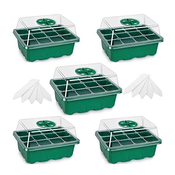 5-Pack Seed Trays Seedling Starter Tray,Humidity Adjustable Plant Starter Kit with Dome and Base Greenhouse Grow Trays… 1 【Keep an eye on your plant】: The only design in the market- High quality clear plastic trays of this seed grow kit make it easier to observe your plants without interrupting the process. 【Total control】: Adjustable vents of this seed trays allow you to regulate the temperature and humidity of your seedling environment, so you have total control over the germination process. 【Perfect for the heat mat】: With its excellent resistance to high and low temperature, these seedling trays are strong enough to be used on a heat mat and no-worry melting.