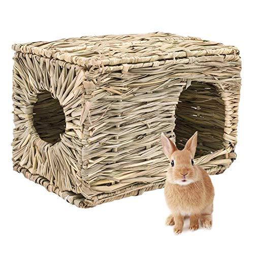JYBHSH Conejo Plegable Hierba Tejida Pet Hamster Conejillo de Indias de la Jaula nidos Casa Chew Toy
