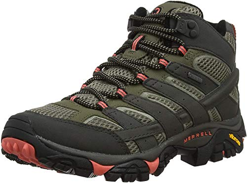 Merrell Women's Moab 2 Mid Gore-tex High Rise Hiking Shoes, Grey (Beluga/Olive), 8.5 UK (42.5 EU)