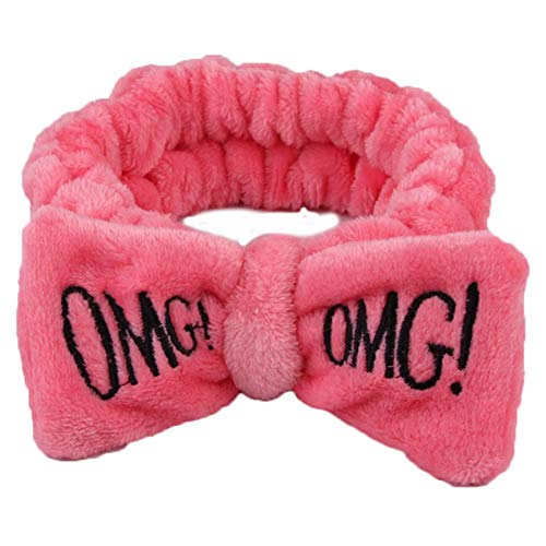 Cute Women Letter Bowknot Plush Headband Face Washing Hair Band Elastic Headwear - Watermelon Red