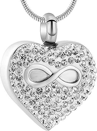 GVRPV Collar de urna de corazón Infinito para Cenizas Joyas de cremación Recuerdo conmemorativo Joyas de Cenizas para Mascotas/Humanos-Plata
