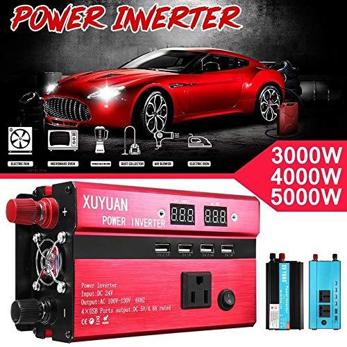 3000W portátil solar del coche inversor de la energía de onda sinusoidal convertidor 12 V 110 V convertidor de voltaje de 12V a 110V cargador de coche Voltios de visualización, 4 conectores USB, Rojo