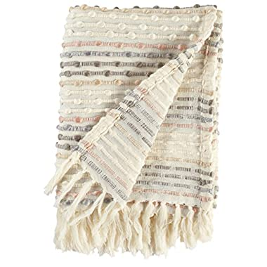 Rivet Bubble Textured Lightweight Decorative Fringe Throw Blanket, 47.7  W x 60  L, Grey and Cream