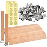 JAOMON Set di Stoppini per Candele in Legno da 50 pezzi con 50 pezzi di Sostegno in Metallo e Adesivi di Avvertimento per Candele da 54 pezzi per Artigianato Fai-da-te(13x1,3 cm / 5,1x0,5 pollici)