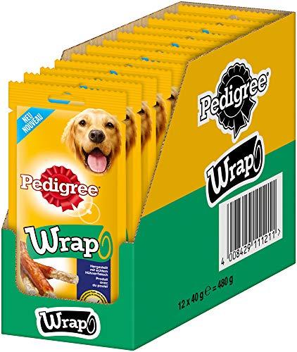 Pedigree Wrap, bastoncini da masticare per cani, rivestimento con pollo, per ricompensare durante l'allenamento o semplicemente per un po' di tempo, 12 x 40 g
