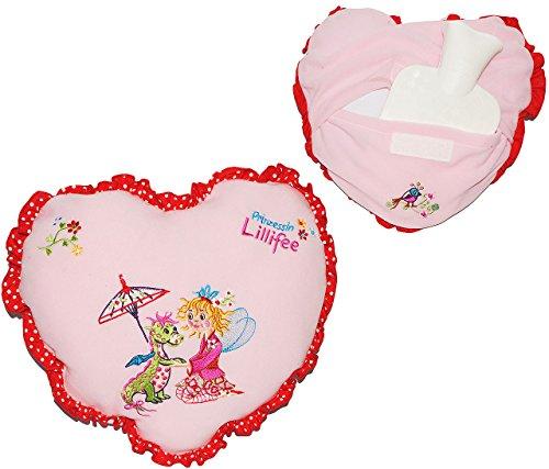 Fashy 2 in 1: Wärmflasche + Herz Kissen - Prinzessin Lillifee - für 0,8 l - mit Bezug - zum Wärmen + Kühlen - Wärmekissen Heizkissen - für Kinder Mädchen - Herzen