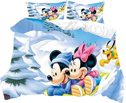 Azbza Juego de funda de edredón de Mickey Mouse, fácil cuidado y diseño de microfibra supersuave, funda de edredón super king + 2 fundas de almohada de 50 x 75 cm