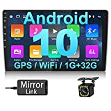 Hikity Android RDS Radio de Coche 2 DIN Navegación GPS 10.1 Pulgadas HD Pantalla Táctil FM Estéreo del Coche con Enlace de Espejo Bluetooth WiFi USB + Cámara de Visión Trasera