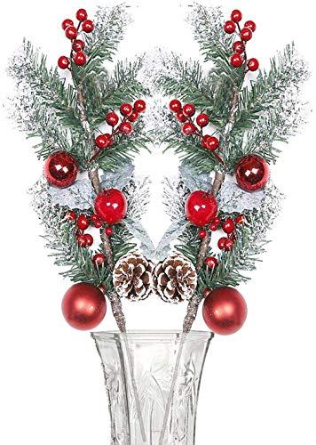 XHXSTORE 2pcs Künstliche Zweige Weihnachten Deko Künstliche Beerenzweige Tnnenzweige Weihnachten Zweige Deko für Weihnachten Kranz Girland DIY Weihnahtsbaumschmuck