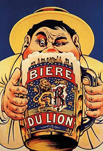 Biere Du Lion Beer Bier Frankreich Blechschild Metallschild Schild gewölbt Metal Tin Sign 20 x 30 cm