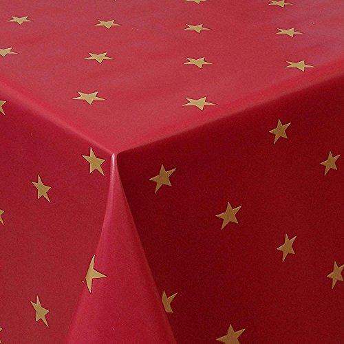 Wachstuch Sterne Rot Weiss Glatt Weihnachten · Eckig 140x100 cm · Länge & Breite wählbar· abwaschbare Tischdecke
