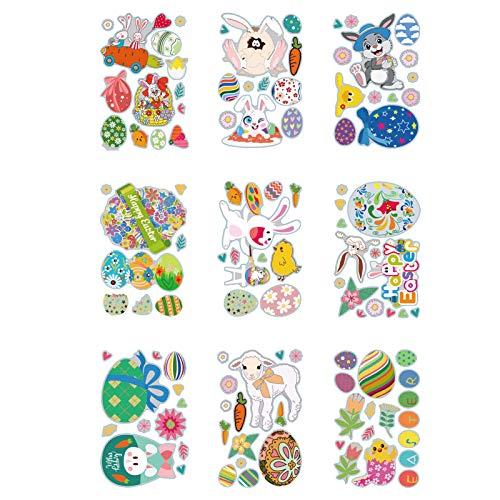 9PC Ostern Fensteraufkleber Dekorationen Für Kinder, Osterhasenaufkleber Home Party Ornamente, Osterfenster Klammert Sich Für Kinderzimmer Fensterdekoration