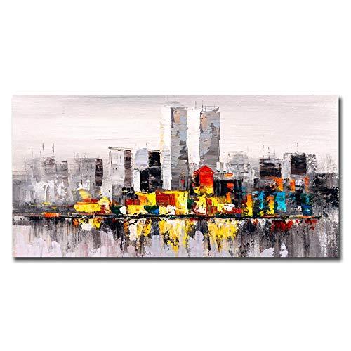 YQLKC Pinturas abstractas de paisajes urbanos en Lienzo, Carteles e Impresiones artísticos de Pared Cuadros Cuadros de paisajes para la decoración de la Sala de Estar 21.6'x43.3 (55x110cm) Sin Marco