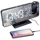 Reloj Despertador de Proyección, Despertador Digital LED con Función de Radio FM, Puerto de Carga USB Diseño de Espejo Pantalla de Temperatura y Humedad, Brillo de 4 Niveles, 2 Despertadores, Snooze