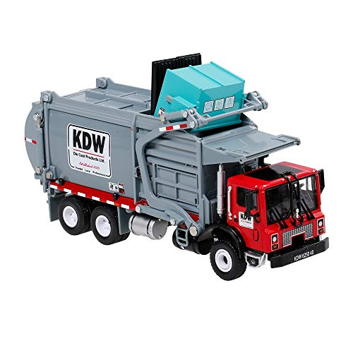 ELVVT 01.24 Alloy Diecast Barreled Mülltransporter LKW Müllfahrzeug for den Materialtransport Fahrzeugmodell Kid Hobby Spielzeug Weihnachten Geburtstags-Geschenk