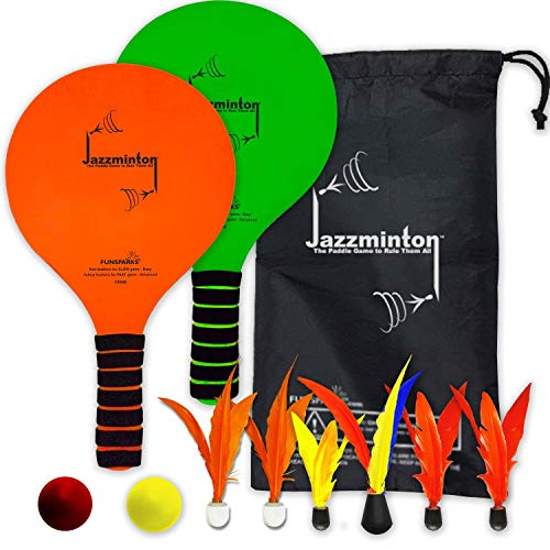 Funsparks Paddle Ball Game Jazzminton Deluxe with LED Birdie  Indoor/Outdoor Game for Kids Teens and Adults