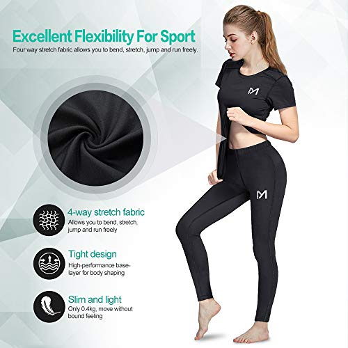 MEETYOO Kompressionsshirt Damen, Sport Leggings Kompressionshose Lang Running Tights Atmungsaktiv Kurzarm T-Shirt für Laufen Radfahren Yoga Gym - 3
