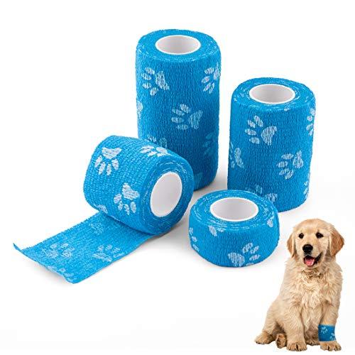SenPuSi Selbstklebender Verband für Haustiere, 4 Rollen Haftbandagen Selbstklebende Bandagen Wasserfest Elastischer Faservlies, Erste Hilfe Sport Haftbandage