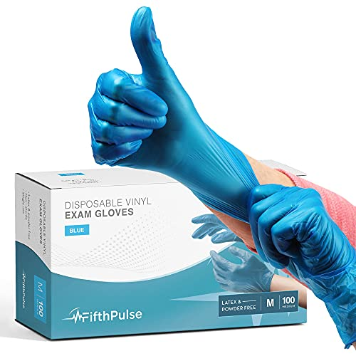 Blue Vinyl Disposable Gloves Medium 100 Pack - Latex Free, Powder Free Medical Exam Gloves - Surgical, Home, Cleaning, and Food Gloves - 3 Mil Thickness
