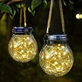 ROSHWEY Hanging Solar Lights 2 Pack 30 LED Crackled Glass Ball Warm White Waterproof Outdoor Solar Powered Lanterns with Handle for Garden Yard Patio Lawn Decoration