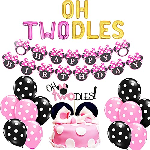 Oh Twodles Balloons Minnie Second Birthday Cake Topper 2nd Mouse Banner Party Supplies Decorations Photo Prop for Girl Baby Bday