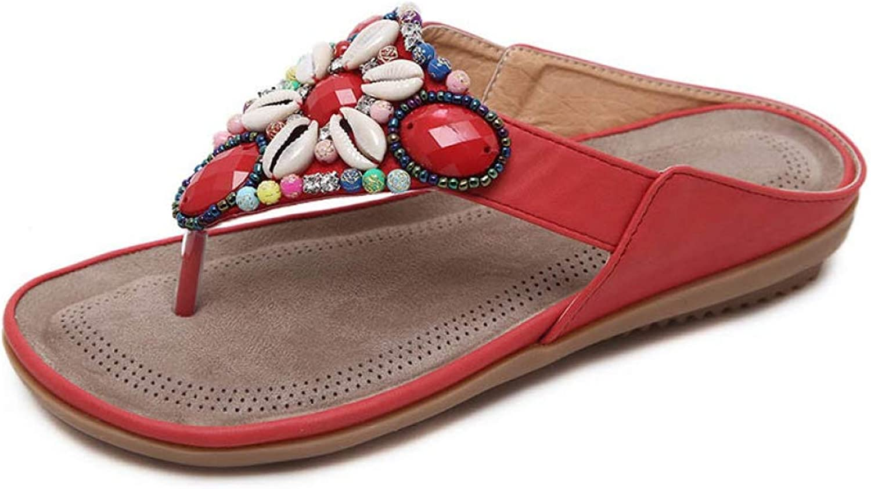Mageed Anna Women's Flip Flops Summer Flowers shoes Beach Slippers Plus Size Sandals