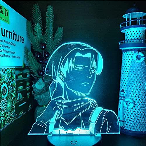 GMYXSW 3D ilusión lámpara noche luz anime lámpara 3D LED noche luz para niños dormitorio decoración jaeger regalo de cumpleaños manga juguete lámpara de mesa 7 color táctil