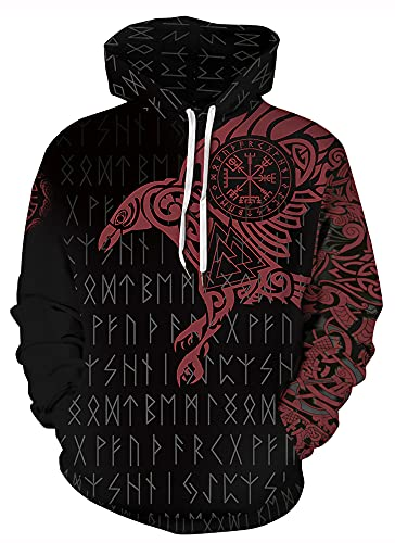GLUDEAR Men's Vikings Tattoo Norse Mythology Graphic 3D Print Hoodie Pullover Sweatshirt Hoodies,Odin's Raven Red,XL