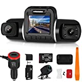 Carkoler 3 Channel Dash Cam Front Rear and Cabin with WiFi Night Vision Parking Mode 1080P FHD Come with with 64G Micro SD Card Card Installation Tool