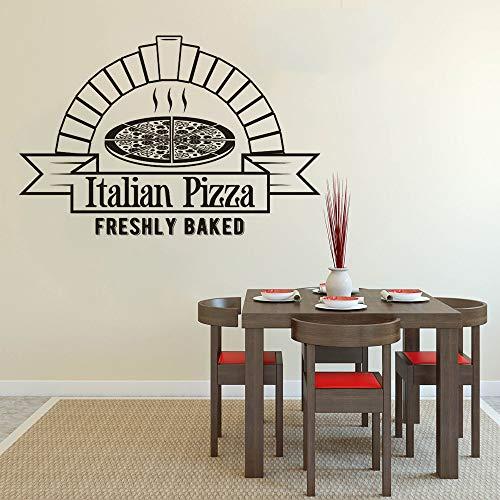 fancjj Adesivo murale Pizza Appena sfornata Pizza Shop Vetrofanie Decalcomanie in Vinile Pizza Cucina Decorazione Pizzeria Cibo Poster da Parete