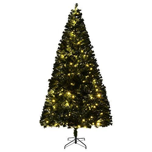 homcom 210cm Albero di Natale Pino Artificiale Decorazione Natalizia con Rami 960 e Luci a LED 300, Base Pieghevole Rimovibile