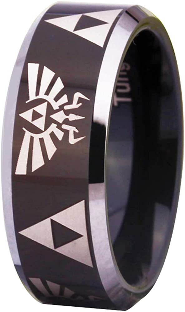 Courier shipping free shipping The Legend of Zelda Ring- Crest Tungsten Ring Black gift Triforce and