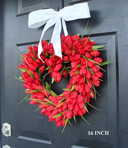 Handmade Red Artificial Tulip Heart Wreath with Bow, Valentine's Day Wreath, Indoor/Outdoor Front Door Decor for Home Wall Accent Décor- Gift for Her, Valentine's Day, Wedding, Mother's Day Gift