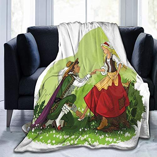 KOSALAER Bedding Manta,Príncipe de Dibujos Animados poniendo Zapato de Cristal en su Novia Fantasía Cuento de Hadas Romance Ilustración,Mantas cálidas de Sala de Estar/Dormitorio Ultra Suaves