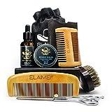 Bart-Set für die Pflege von Männern - Bartbürste, Bartkämme aus Holz, unbehandeltes Bartöl-Conditioner, Schnurrbart- und Bartbalsam-Butter, Friseurschere für das Wachstum von Strümpfen