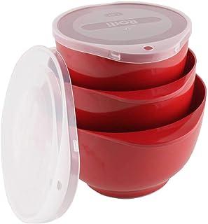 Rosti Lot de 3 saladiers MARGRETHE - Rouge - 1,5 + 2 + 3 l - Avec couvercle - RO-245287 - 8711269942704