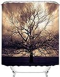 Anti Schimmel Duschvorhang Sepia Tree Duschvorhänge Für Badezimmer Mysterious Fantasy Forest Wasserdichter Stoffvorhang Mit 12 Haken Dekorationen