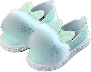 Toddler Kids Baby Girls Winter Warm Single Shoes Little Princess Rubber Sole Catoon Bunny Pompom