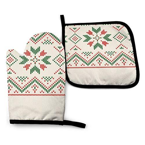 Motivo lavorato a maglia natalizio Guanto da cucina geometrico invernale Guanto da forno Set di presine-Guanti da forno resistenti al calore per proteggere mani e superfici con impugnatura antisc