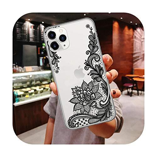 N/A Handyhülle für iPhone 11Pro Max 2019 X Xr Xs Max 6 6S Plus Süße Blumen Muster Silikon Weiche Rückseite Cover für iPhone 11 Hüllen TPU für iPhone 7 8